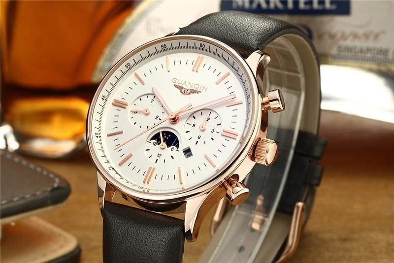2016 GUANQIN Модные Часы Мужчины Luxury Brand мужские Кварцевые Час дата Часы Спортивные Часы Человек Moon Phase Военный Наручные часы