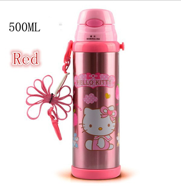 Hello Kitty Children Water Bottle Thermos Mug 500ML Bullet Vacuum Flasks For Kids Thermoses With Rope 3 Colors Available(China (Mainland))