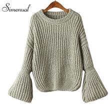 Корейская мода flare рукавом осень свитер 2016 горячая продажа тонкий твердые женщины свитера и пуловеры вязание одежда женский джемпер(China (Mainland))