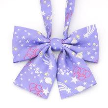 ( 3 PCS / LOT ) Japanese sailor school uniform Embroidery Bow Tie ( 3 color Purple&Pink&Blue Whole sale)