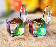 MOONROCY Free Shipping Fashion Jewelry Wholesale Earrings For Women Square Blue Purple crystal earrings for women Gift(China (Mainland))