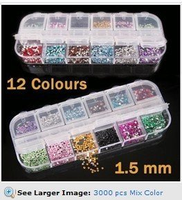 3000 pcs Mix Color Teardrop Nail Art Gems Rhinestones Deco Glitters Beautiful decoration HB975