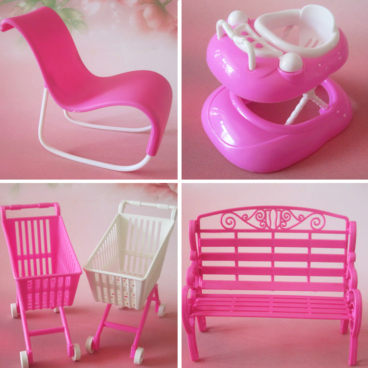 Free shipping girl birthday gift 4 items sling chair supermarket trolley walker furniture accessories for barbie doll(China (Mainland))