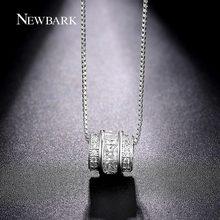 NEWBARK Classic Permanent Necklace Silver Color Channel Set CZ Necklaces & Pendants Jewelry Slide Vintage Collier(China (Mainland))