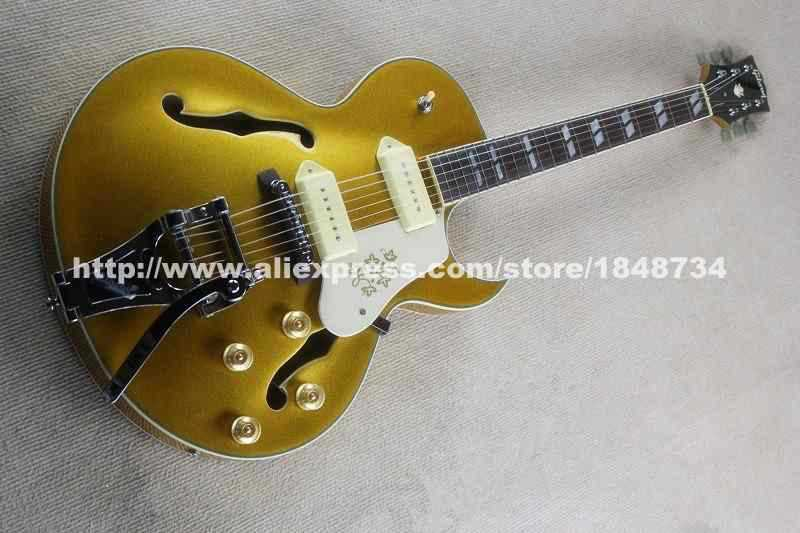 OEM Factory GBSON es175 jazz section sharp Semi-hollow electric guitars Double P90 pickups bright gold upon request modification(China (Mainland))
