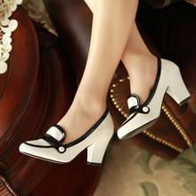 spring summer elegant women shoes thick high heels women pumps pu leather female work black white