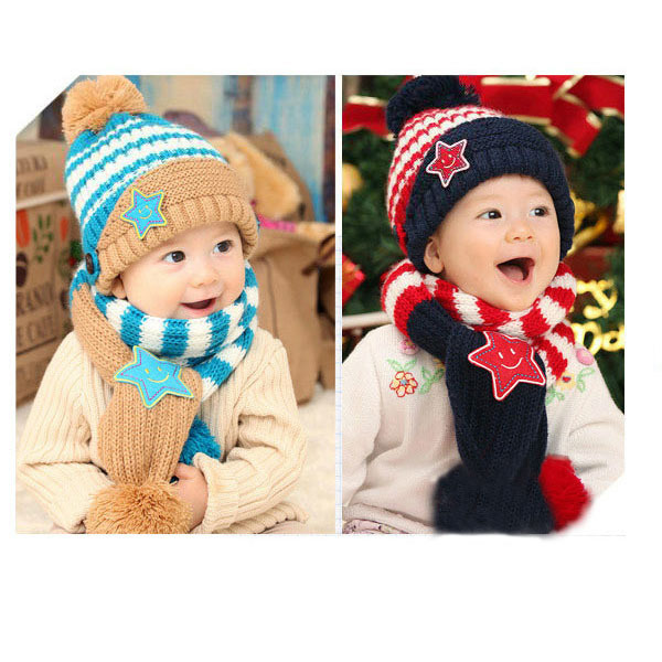 Girls Boy Kids Baby Smile Stars Striped Hat+ Scarf Set Christmas Beanie Cap 1-4Years(China (Mainland))