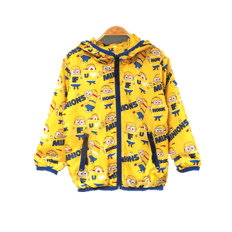 2016 Kids Autumn Minion Costume Baby Minions Clothes School Baby Boys Fall Jacket Despicable Me Hooded Jacket Outwear For Girl(China (Mainland))