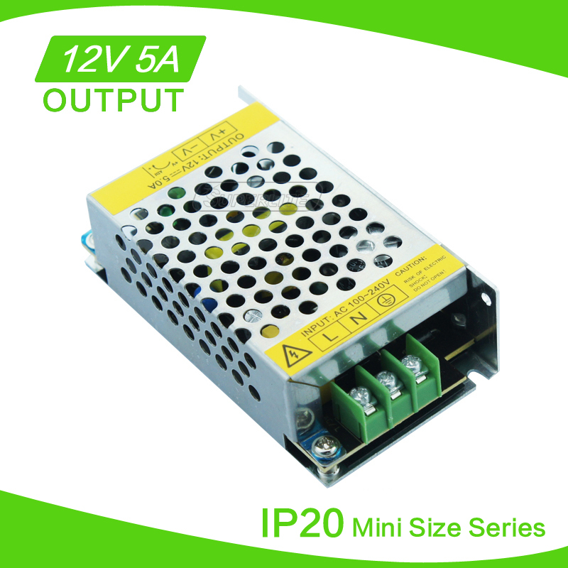 New Style 60W LED Power Supply for 3528 5050 Led Strip 12V 5A LED transformer for led strip! Free Shipping(China (Mainland))
