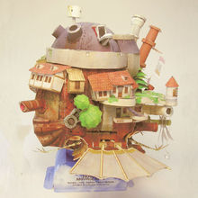 2015 New Arrived Howl's Moving Castle 3D Paper Model Appropriate Adult Children Educational Toys Part Free Shipping Wholesale(China (Mainland))