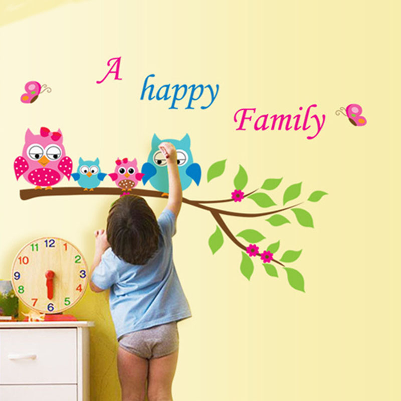 Animal Cartoon Owl 3D DIY Vinyl Wall Stickers for Kids Rooms A Happy Family Tree Friend Art Decals Home Decor De Parede Poster(China (Mainland))