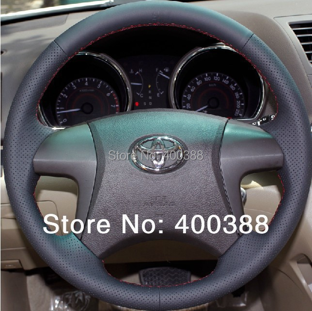 Free Shipping High Quality cowhide handmade Sewing Steering wheel covers Steering wheel protect For Toyota Highlander/Camry(China (Mainland))
