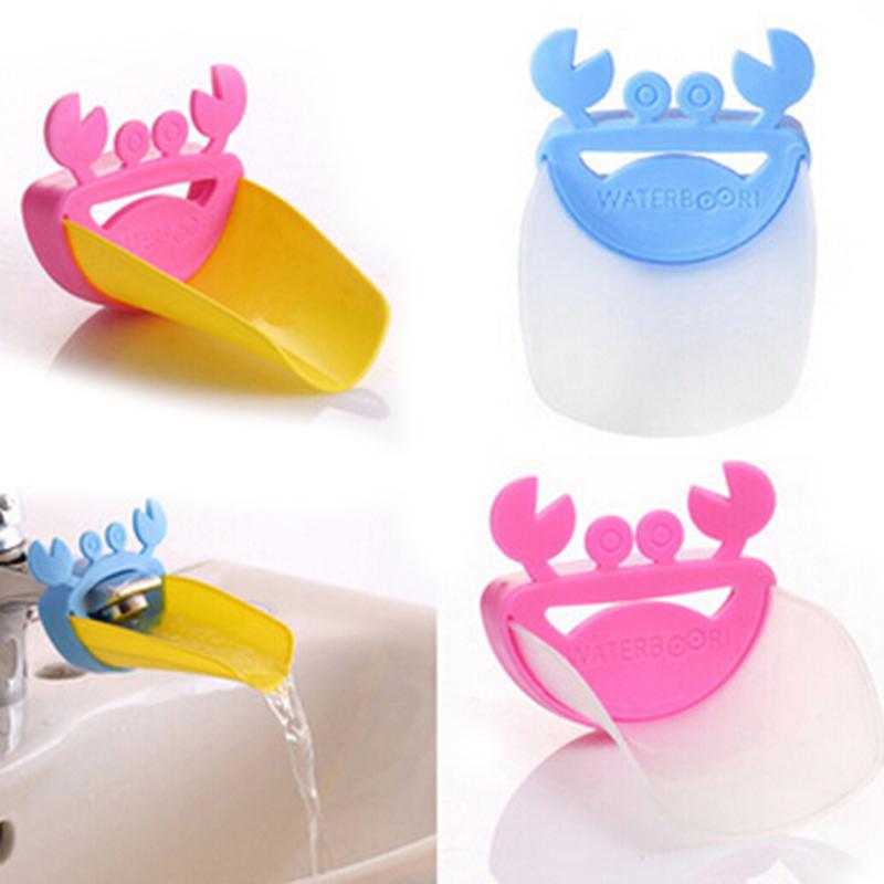 Cute Crab Bathroom Sink Faucet Chute Extender Children Kids Washing Hands Gutter Sink Guide Saving Faucet Accessories ZQ875377(China (Mainland))