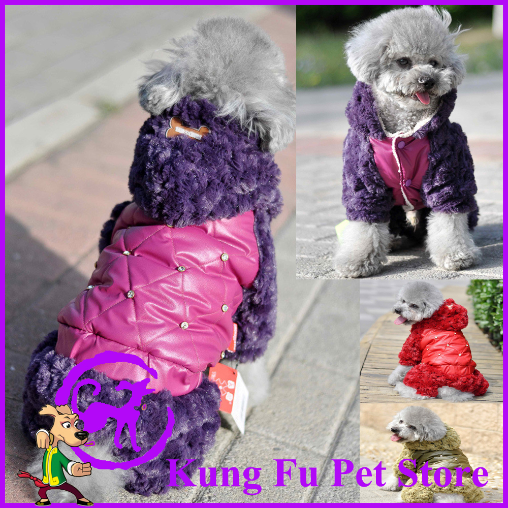 The Pet Gold And Purple Color Clothes Rose Fleece Cotton-Padded Clothes Thickening Of Dog Down Jacket P059(China (Mainland))