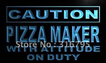 m617-b Caution Pizza Maker on Duty LED Neon Light Sign