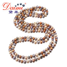 [Daimi] Multi Color Baroque Pearl Necklace 7-8 mm Natural Pearl Long Necklace Beach Style(China (Mainland))