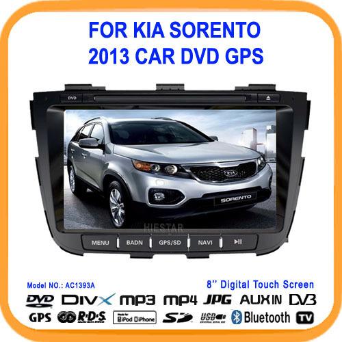 8'' HD Touch Screen Car DVD Player GPS for Kia Sorento 2013 with Navigation GPS radio bluetooth Rearview input SD/USB/IPOD Slot