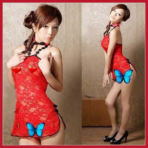 Affordable! bottomprice Sexy Lingerie Lace up Gauze Halter Corset Cheongsam Women Mini Dress G-String High Quality Bottom price!(China (Mainland))