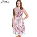 Summer Dress Women Elegant Vintage Floral Lace Dress Lace Print Tunic Casual Party A Line Midi