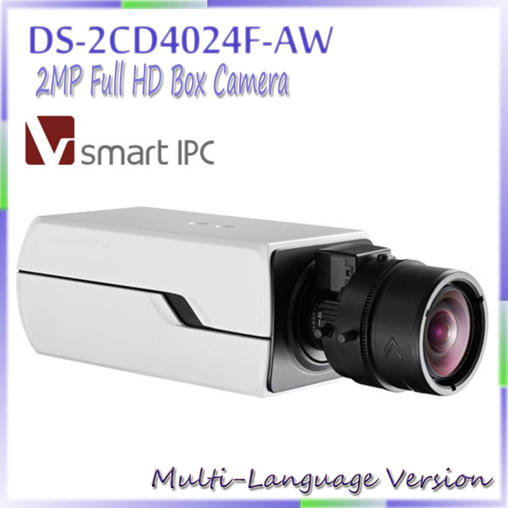 Free shipping multi langauge version 2MP Full HD Box Camera 1080P POE DS-2CD4024F-AW IP camera IR network camera(China (Mainland))