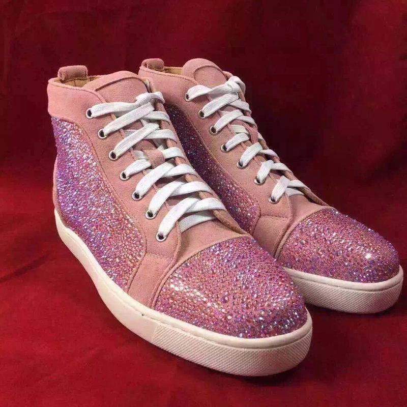 New Luxury Fashion Designer Genuine Leather Rhinestone Crystal Strass Men High Top Brand Shoes in Mens Fashion Casual Flats<br><br>Aliexpress