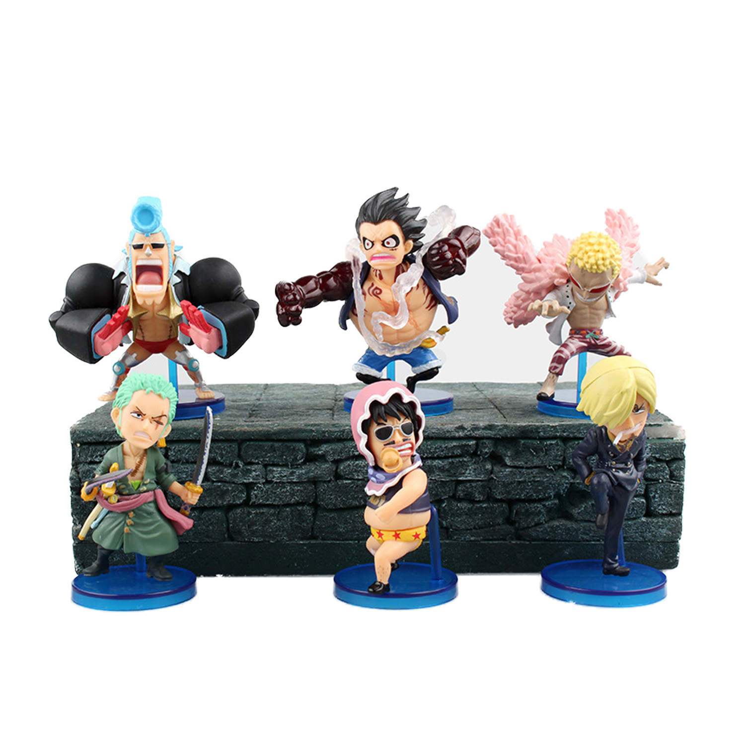 Chanycore Anime ONE PIECE 6pcs/set Luffy Zoro Nami Sanji robin Doflamingo 7cm Action Figures PVC onepiece toys doll model(China (Mainland))