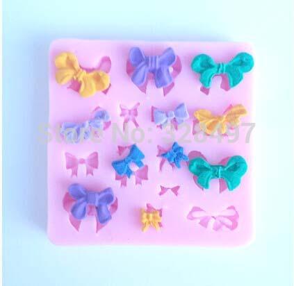 beautiful bowknot silicone mold,Fondant Cake Decorating Tools,Silicone Soap Mold,Silicone Cake Mold C014(China (Mainland))