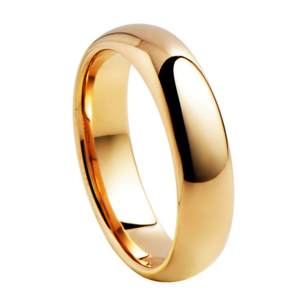 Mens Rose Gold Plated Domed Tungsten Carbide Wedding Ring Width 5mm