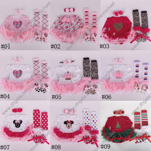 2015 autumn christmas clothes floral newborn baby romper with tutu dress +head band+shoes+leggings 4pcs/set baby clothing set A1(China (Mainland))