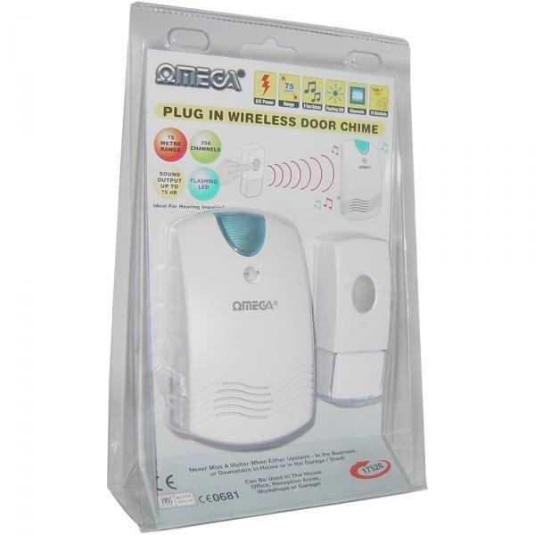Omega 17526 Plug In Wireless Door Chime Visual LED Flashing Alert 75m Range New(China (Mainland))