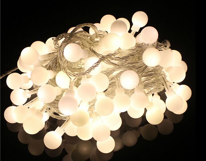 New 20m 200 Matte Ball Warm White LED String Wedding Party Fairy Christmas Light for home decor lamp 220v EU plug with tail plug(China (Mainland))