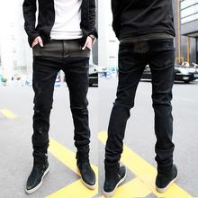 2016 Sale Hot Sale Denim Cotton Medium Drawstring Mid Brand New Men's Clothing Fashion Male Jeans Slim Skinny Pants Personality