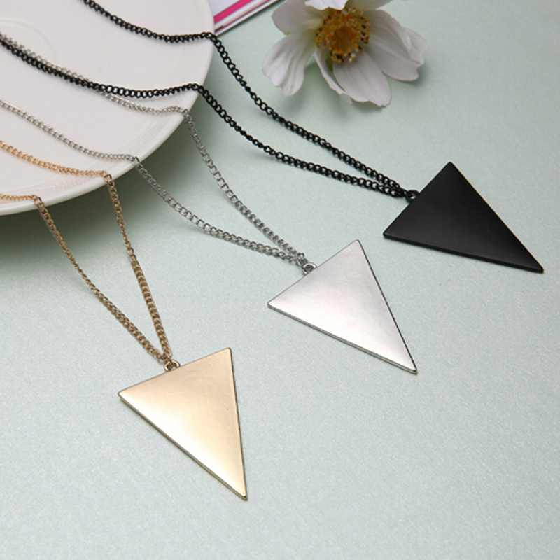 1PCS Women Winter Punk Triangle Pendant Long Chain Costume Sweater Necklace Silver Gold Black Color Free Shipping(China (Mainland))