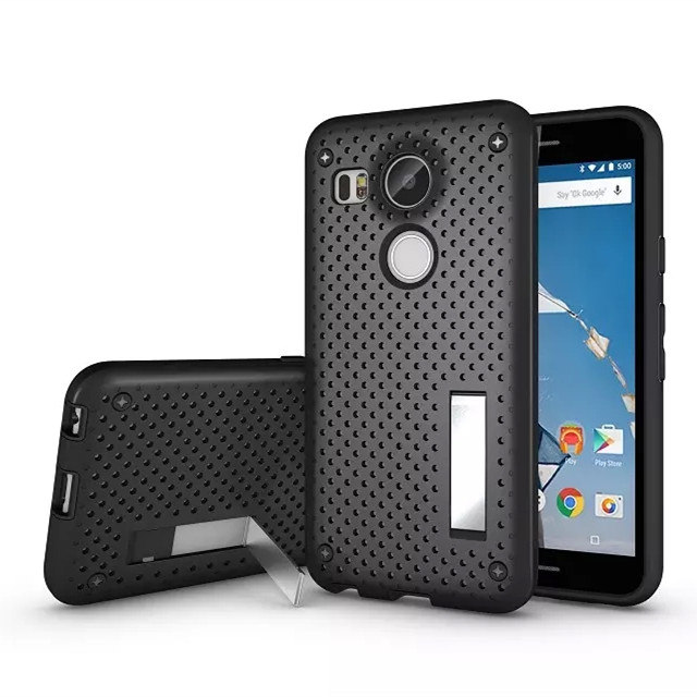 For LG Nexus 5X 2015 PC+TPU Heat Radiation Function Slim Dual Armor Net Design Mesh Case With Stand Back Cover(China (Mainland))