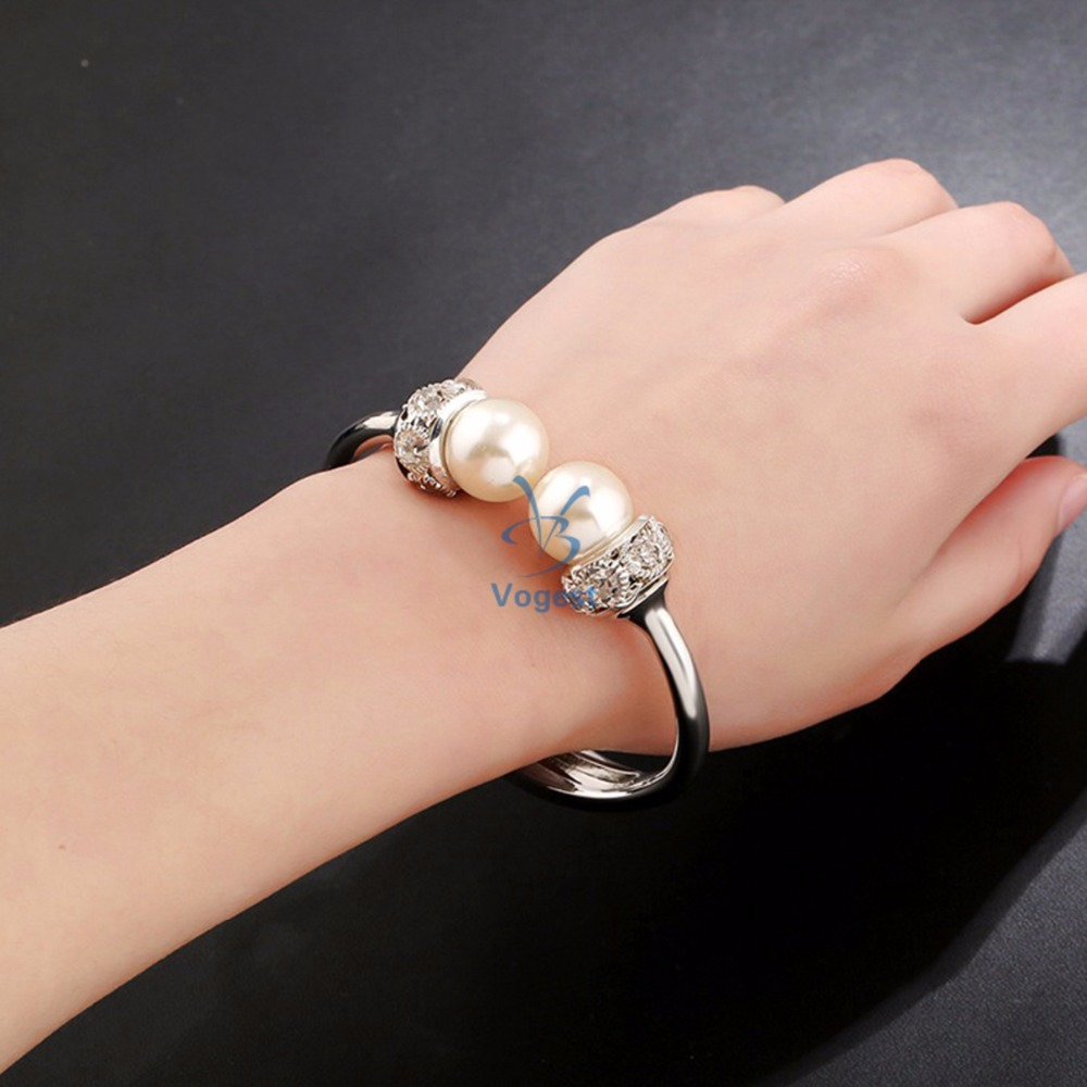 Lady Fashion Double Imitation Pearl Bangles Women Gold Plated White Round Beads Bracelet Female Trendy Crystal Gift Cuff(China (Mainland))