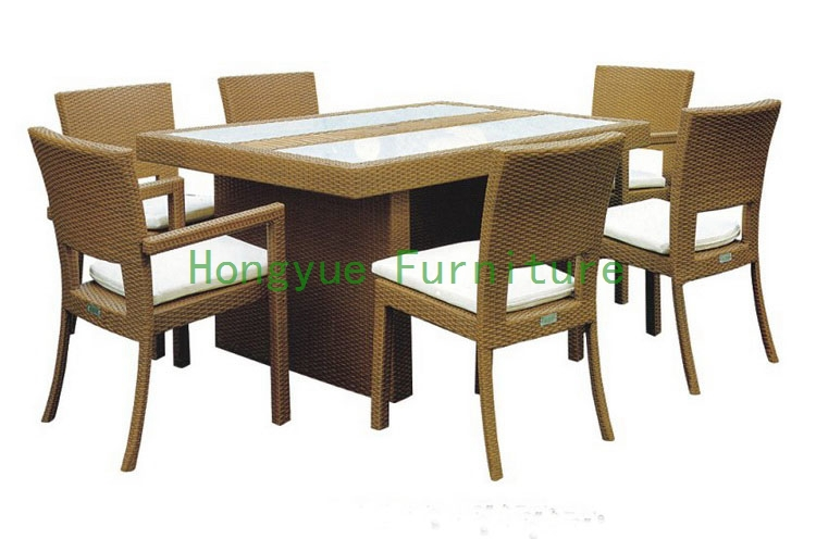 patio rattan dining furniture with cushion and glass(China (Mainland))