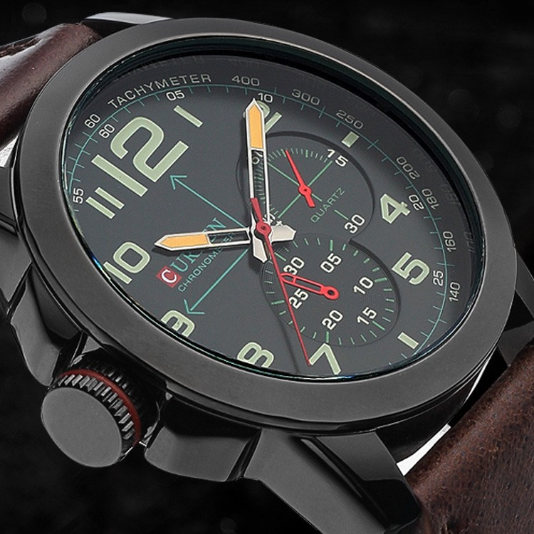 Foreign Trade Sale 2015 New Curren Watch Fashion Large Dial Three Eyes Watch The Men's False Personality Quartz Watch(China (Mainland))