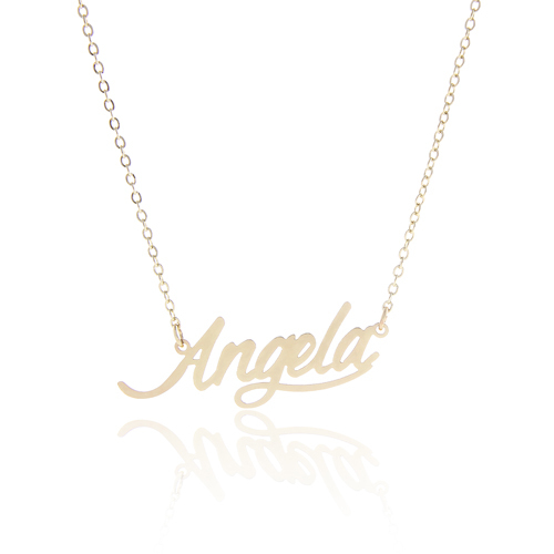 """New 2015 Women Personalized Nameplate Necklace """" Angela """" Stainless Steel Pendant Name Necklace ,NL-2397(China (Mainland))"""