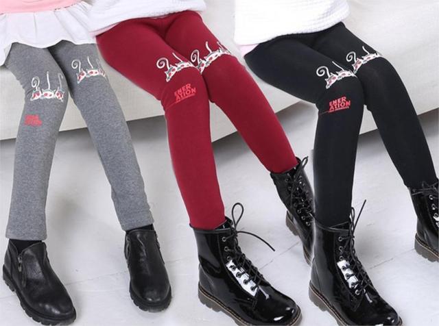 Детская одежда девушка меха леггинсы дети хлопок девушки брюки девушки мультфильм брюки
