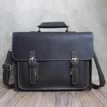 Crazy horse genuine leather men bag vintage loptap business men's leather briefcase mens bags men messenger bag 7205(China (Mainland))