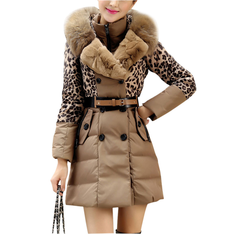 New Leopard Raccoon Fur Hood Parka 2016 Double Breasted Winter Jacket Women Slim Warm Belted Manteau Hiver Doudoune Femme C32(China (Mainland))