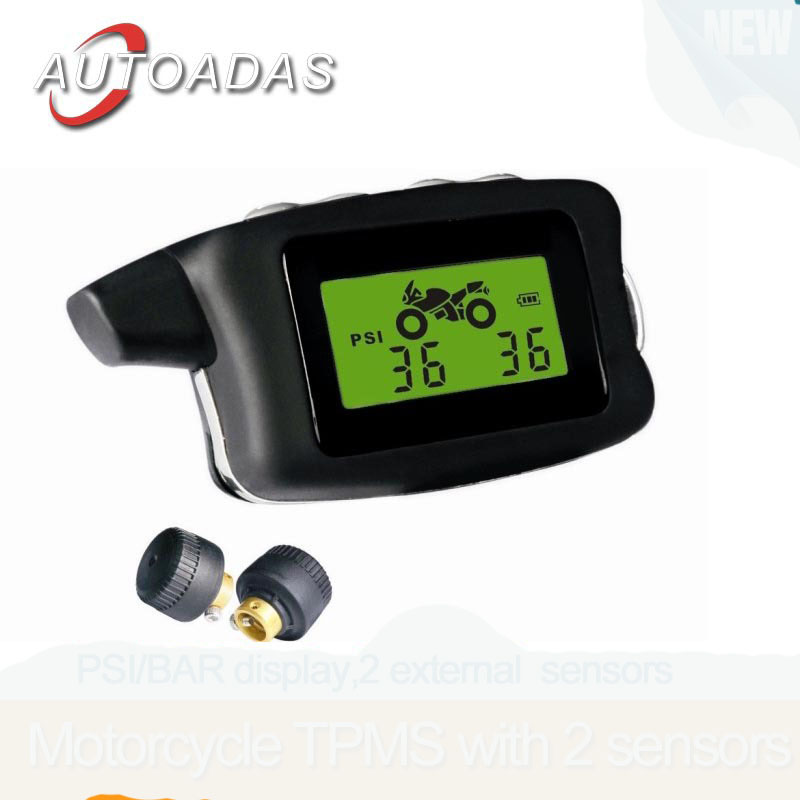 Freeshipping,Motorcycle tpms,2 external sensors,PSI/BAR display,waterproof,tyre pressure monitoring system - Autoadas car electronics shop store