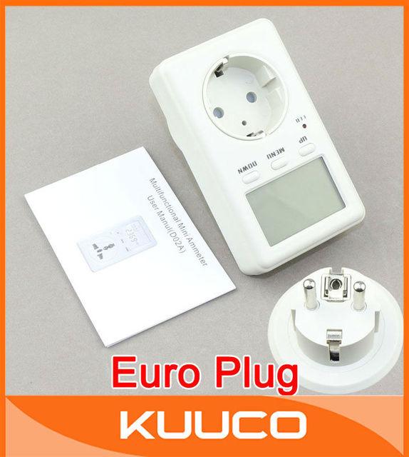 5pcs/lot Multifunction Mini EURO Plug Electrical Measurement Energy Meter 160-280V AC Watt Monitor Meter Power Saving #090279