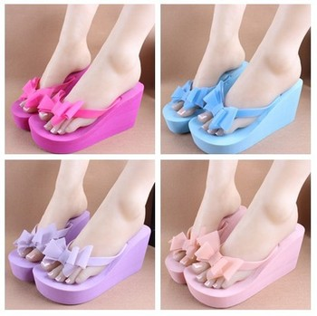 2015 New Sandal Woman Flip Flops,Ladies' Elegant Flat Sandals Wedges Platform Sandals Beach Slippers Black White Blue