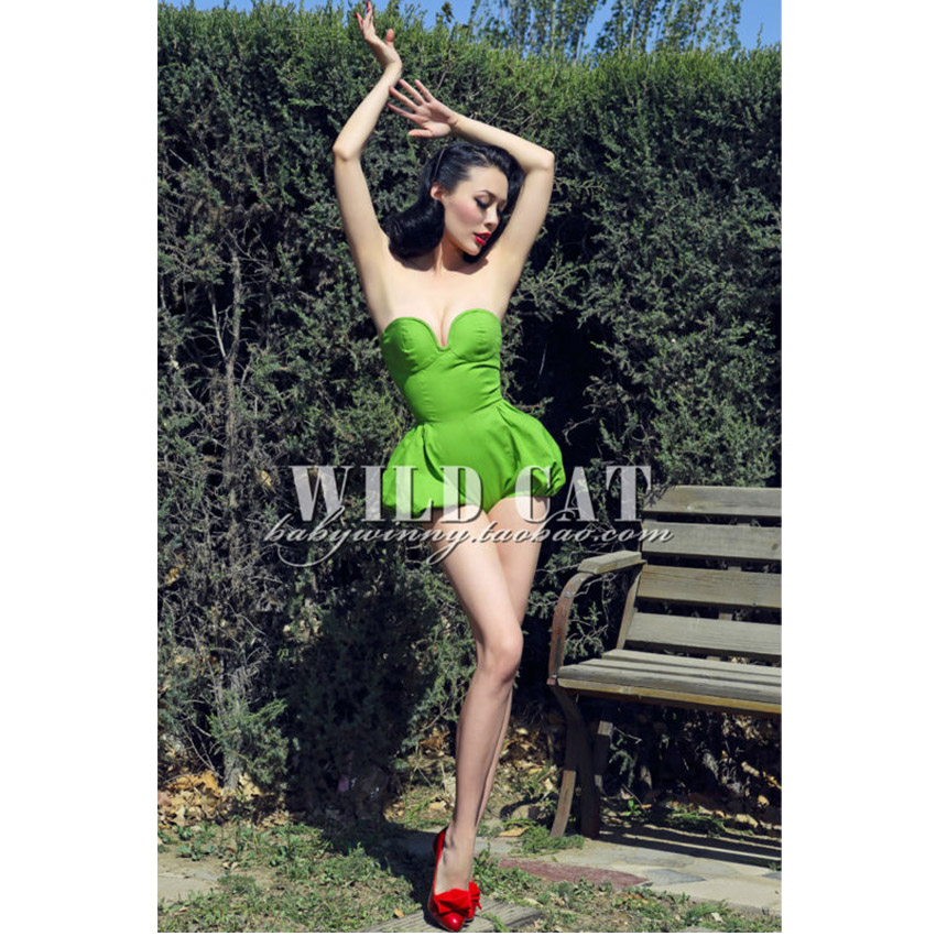 FREE SHIPPING WILD CAT vintage fashion sexy green jumpsuit/sexy bodycon strapless/ 2014 girl clothingОдежда и ак�е��уары<br><br><br>Aliexpress