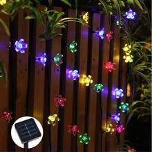 50 LEDs 7 M Pêche Sakura Fleur Solaire Puissance De La Lampe LED Cordes Guirlande lumineuse Solaire Guirlandes Jardin De Noël Décor Pour en plein air(China (Mainland))