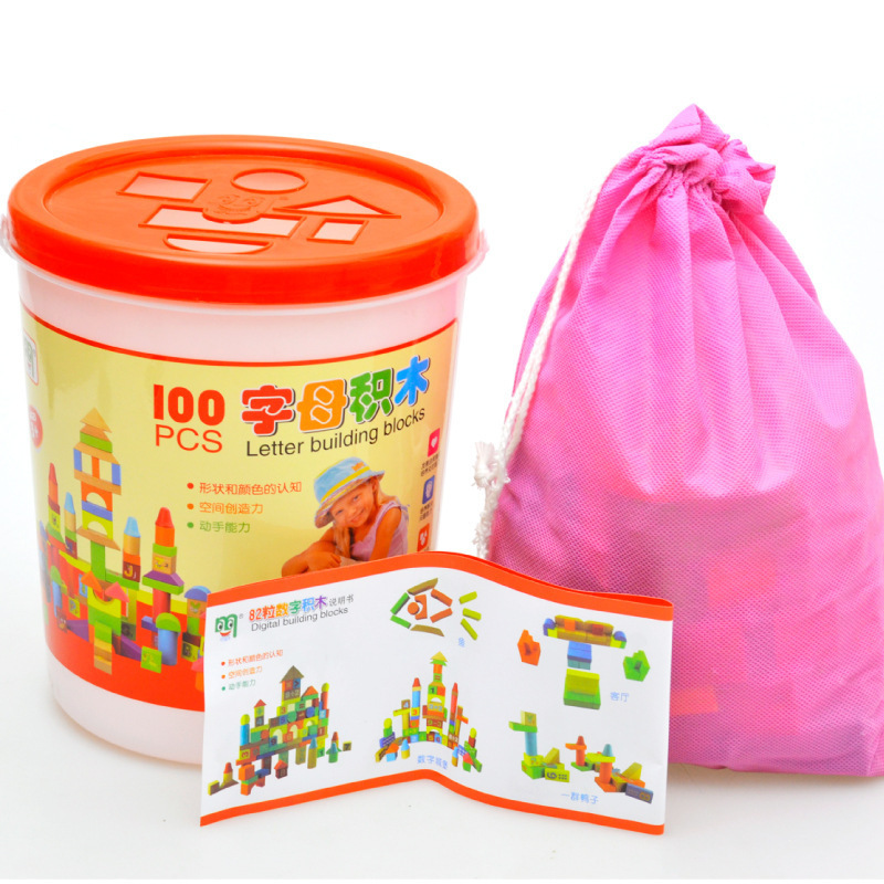 100 grains of alphabet blocks children's educational toys barrels of large wooden building blocks of intellectual enlightenment(China (Mainland))