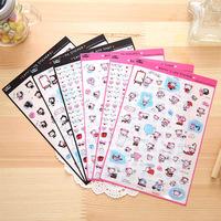 6 pcs/set Kawaii Cat Cartoon Animals Sticker PVC Cartoon Stickers Diary Sticker Scrapbook Decoration PVC Stationery Stickers