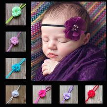 1PC Hair accessories retail infant Baby Girl Kids multi angle ribbon flower with pearl center baby headband w–054