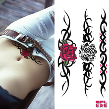 3pcs Efl tattoo durable waterproof male female multicolour black rose sexy tattoo stickers(China (Mainland))